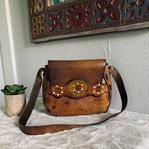Vintage 70s leather boho hippie shoulder bag